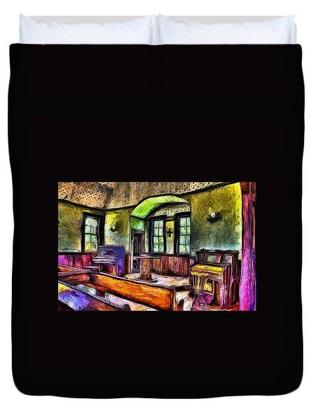 Oysterville Church Interior Duvet Cover