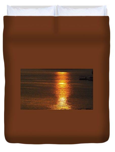 Ozark Lake Sunset Duvet Cover by Don Koester
