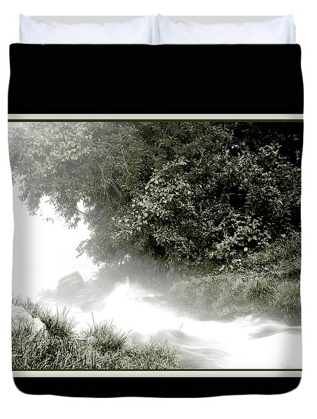 Duvet Cover featuring the digital art Ozark Mountains Rivulet Into The White River by A Gurmankin