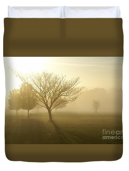 Ozarks Misty Golden Morning Sunrise Duvet Cover