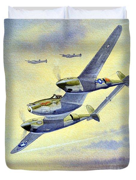 P-38 Lightning Aircraft Duvet Cover by Bill Holkham