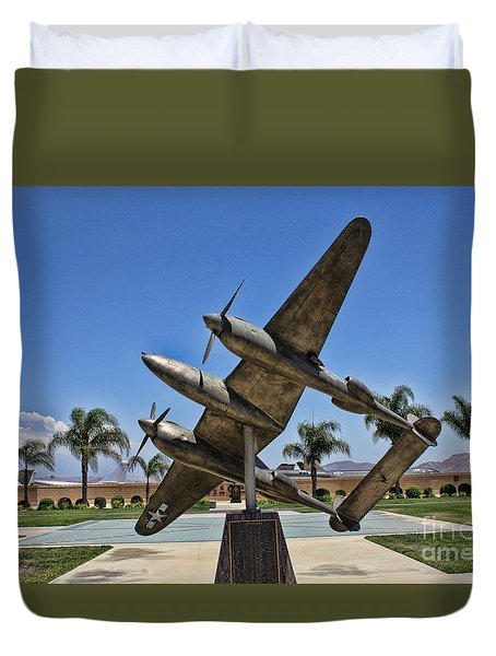 P-38 Memorial March Field Museum Duvet Cover by Tommy Anderson