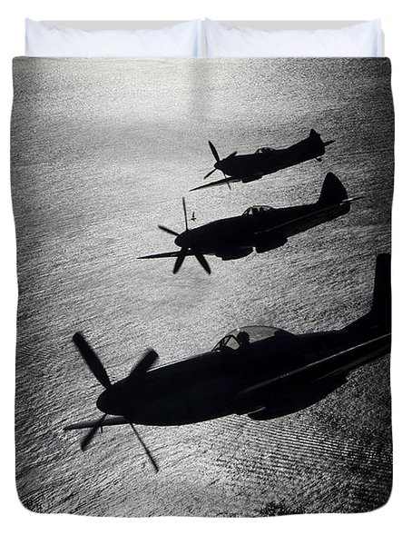 Duvet Cover featuring the photograph P-51 Cavalier Mustang With Supermarine by Daniel Karlsson