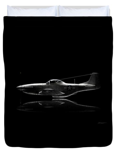 P-51 Mustang Profile Duvet Cover by David Collins