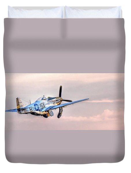 P-51 Mustang Taking Off Duvet Cover