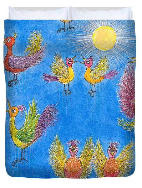 p11 Crazy Bouncing Birds Duvet Cover by Charles Cater
