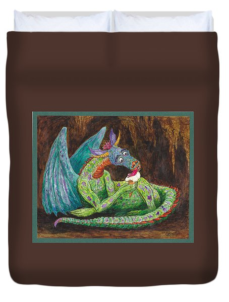 Dragons Love Ice Cream Duvet Cover by Charles Cater