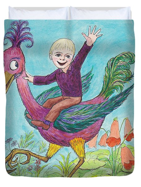 P3 Bird Boy Duvet Cover by Charles Cater
