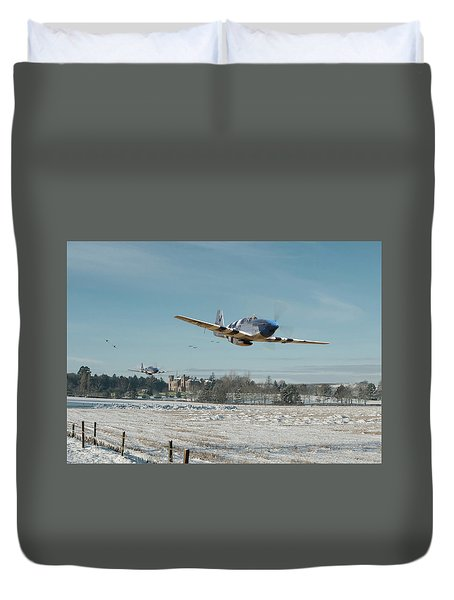 Duvet Cover featuring the digital art P51 Mustang - Bodney Blue Noses by Pat Speirs