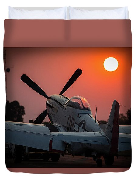 Duvet Cover featuring the photograph P51 Sunset by Paul Job