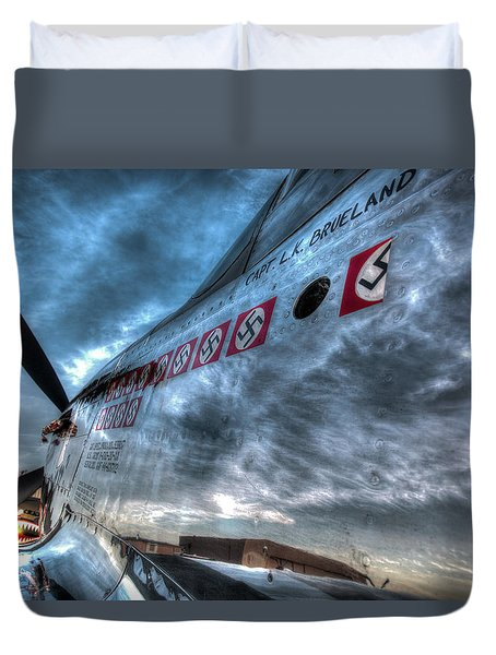 Duvet Cover featuring the photograph P51d Mustang Shows Off Its Nazi Kills by John King