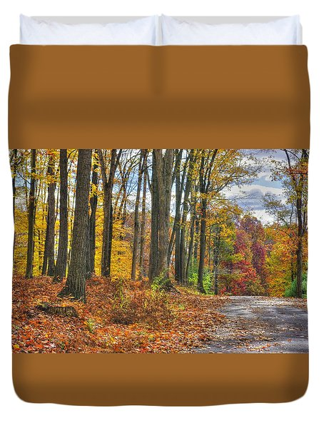 Pa Country Roads - Autumn Colorfest No. 3 - Fire In The Woods - Northumberland County Duvet Cover by Michael Mazaika