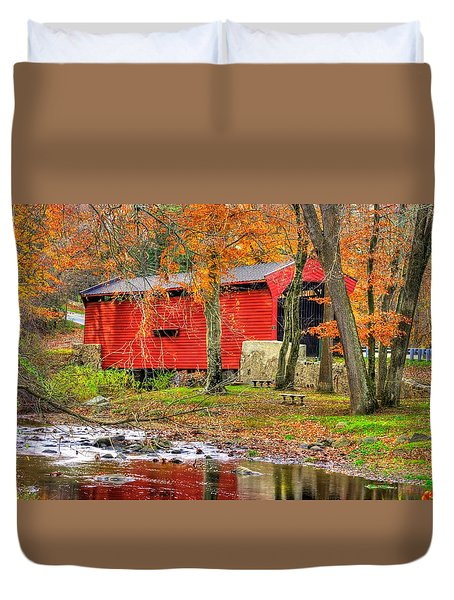 Pa Country Roads- Bartrams / Goshen Covered Bridge Over Crum Creek No.11 Chester / Delaware Counties Duvet Cover