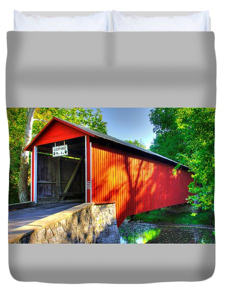 Pa Country Roads - Witherspoon Covered Bridge Over Licking Creek No. 4b - Franklin County Duvet Cover