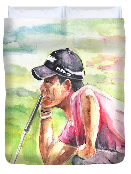 Pablo Larrazabal Winning The Bmw Open In Germany In 2011 Duvet Cover by Miki De Goodaboom