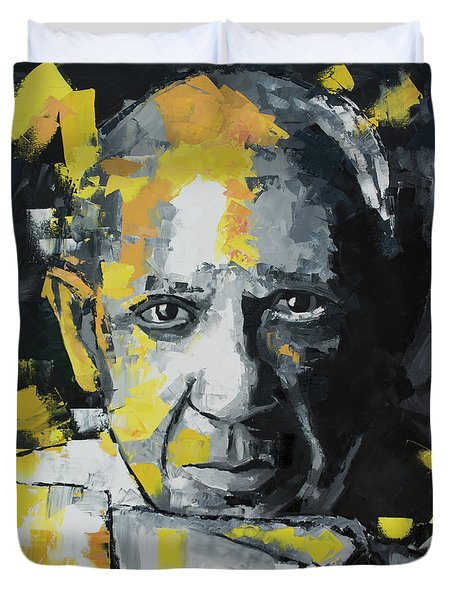 Duvet Cover featuring the painting Pablo Picasso Portrait by Richard Day