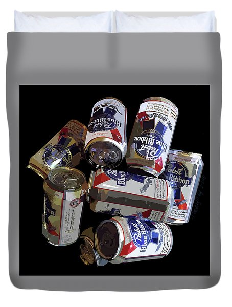 Pabst Blue Ribbon Can Art Duvet Cover