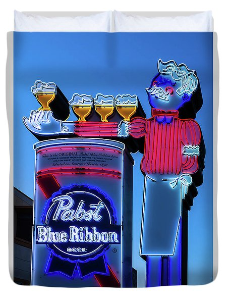 Pabst Blue Ribbon Neon Sign Fremont Street Duvet Cover