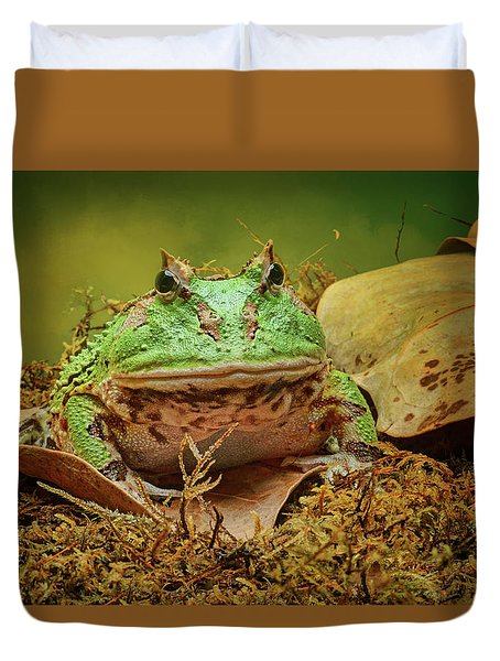 Duvet Cover featuring the photograph Pac Man - Frog by Nikolyn McDonald