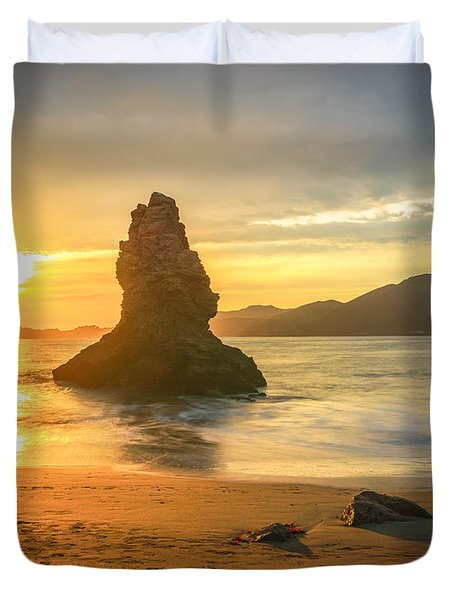 Pacific Beach Sunset Duvet Cover