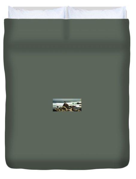 Pacific Coast Beach Rock Duvet Cover