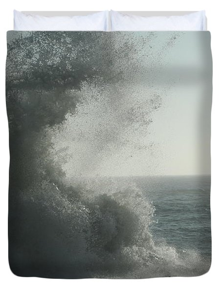 Pacific Crash Duvet Cover by Laddie Halupa