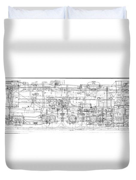 Pacific Locomotive Diagram Duvet Cover
