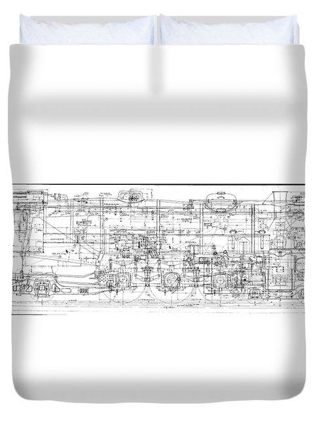 Pacific Locomotive Diagram Duvet Cover