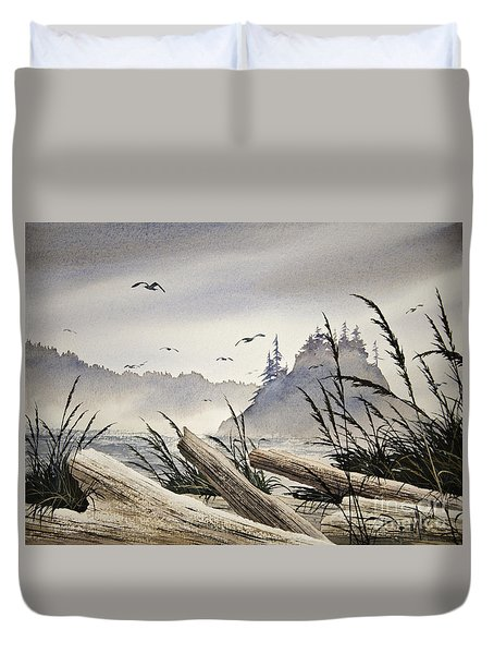 Pacific Northwest Driftwood Shore Duvet Cover