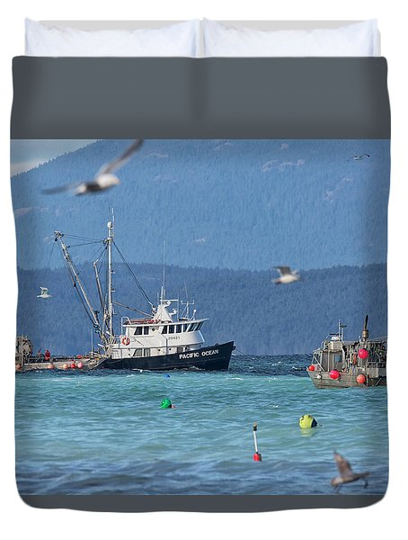 Pacific Ocean Herring Duvet Cover by Randy Hall