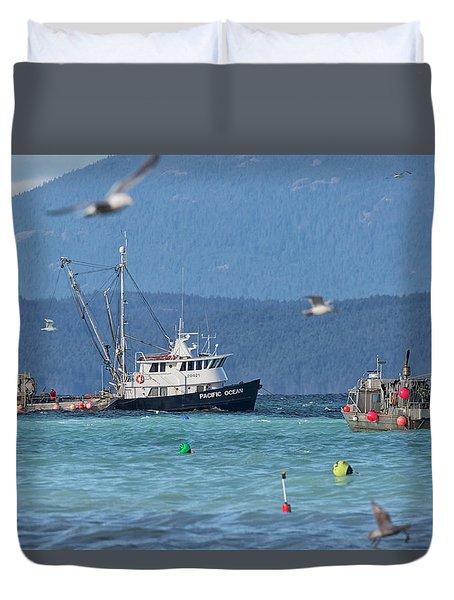 Pacific Ocean Herring Duvet Cover by Randy Hall