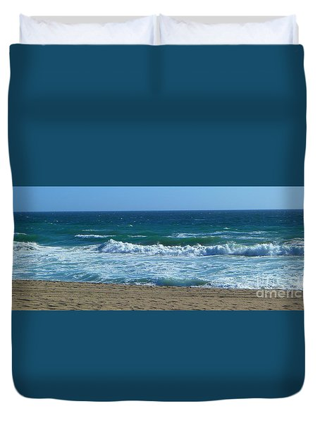 Duvet Cover featuring the photograph Pacific Ocean - Malibu by Nora Boghossian