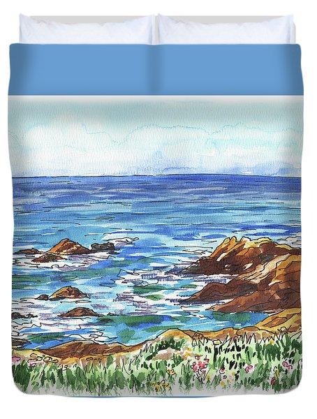 Pacific Ocean Shore Monterey Duvet Cover