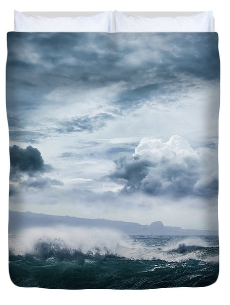 Duvet Cover featuring the photograph He Inoa Wehi No Hookipa  Pacific Ocean Stormy Sea by Sharon Mau