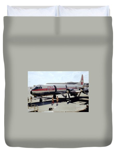 Pacific Southwest Airlines Lockheed L-188c, N376ps Duvet Cover