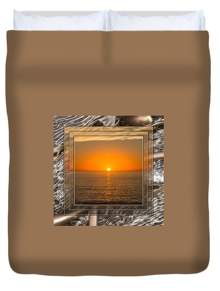 Pacific Sunset With Beach Textures Duvet Cover