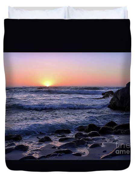 Duvet Cover featuring the photograph Pacific Twilight by Gina Savage