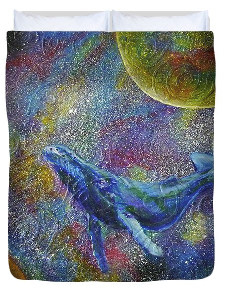 Pacific Whale In Space Duvet Cover