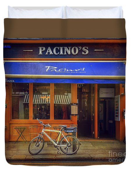 Duvet Cover featuring the photograph Pacino's Garda Bicycle by Craig J Satterlee