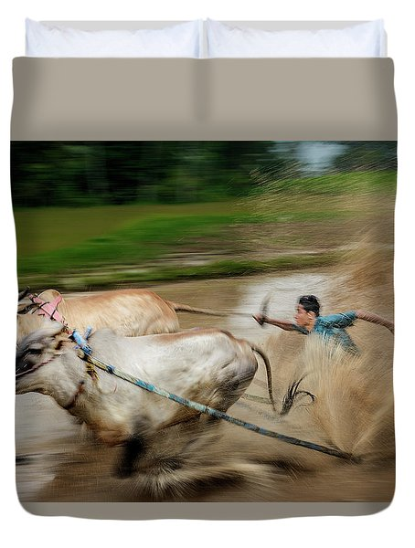 Duvet Cover featuring the photograph Pacu Jawi Bull Race Festival by Pradeep Raja Prints