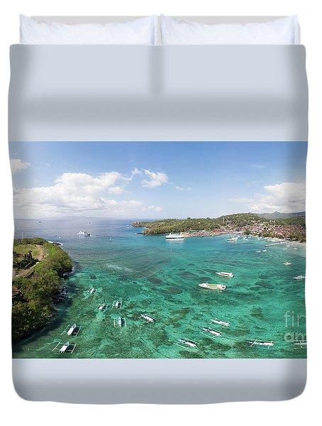 Padang Bai Panorama In Bali Duvet Cover
