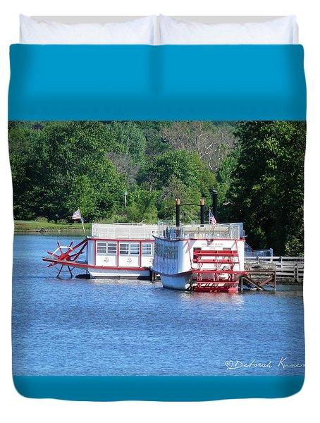 Paddleboat On The River Duvet Cover