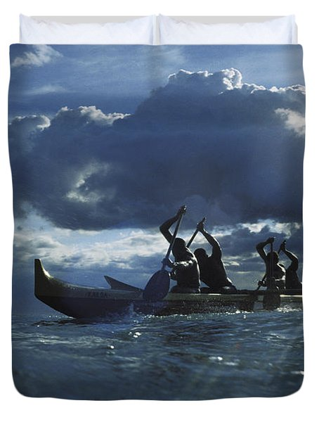 Paddlers At Sunset Duvet Cover by Bob Abraham - Printscapes