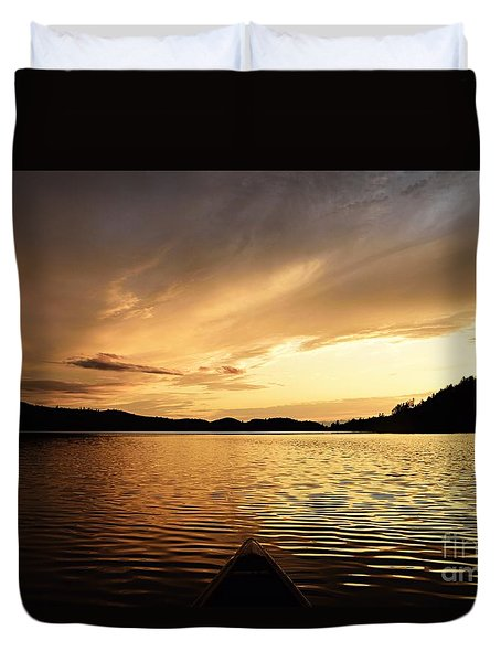 Duvet Cover featuring the photograph Paddling At Sunset On Kekekabic Lake by Larry Ricker