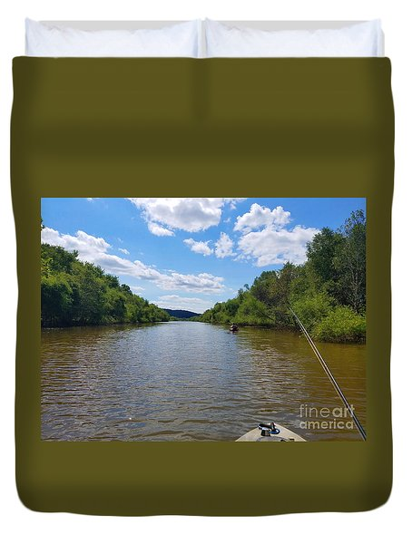 Paddling Up Crooked Creek Duvet Cover