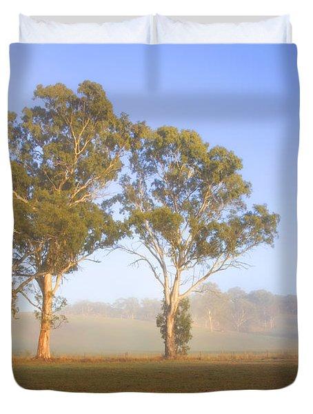 Paddock Sunrise Duvet Cover by Mike  Dawson