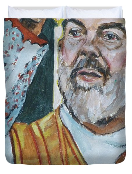 Padre Pio Duvet Cover by Bryan Bustard