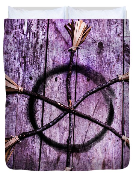 Pagan Or Witchcraft Symbol For A Gathering Duvet Cover