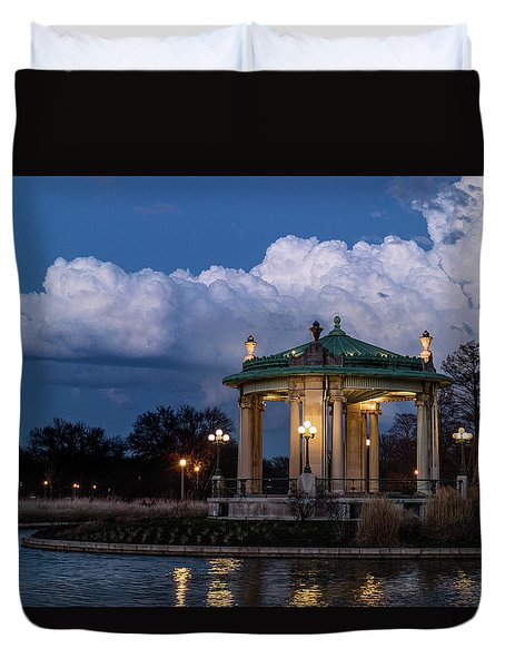 Pagoda At Sunset In Forest Park Duvet Cover