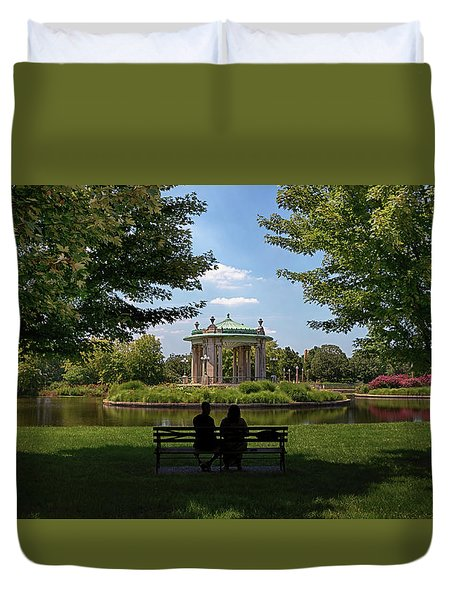 Duvet Cover featuring the photograph Pagoda Circle Interlude by Susan Rissi Tregoning